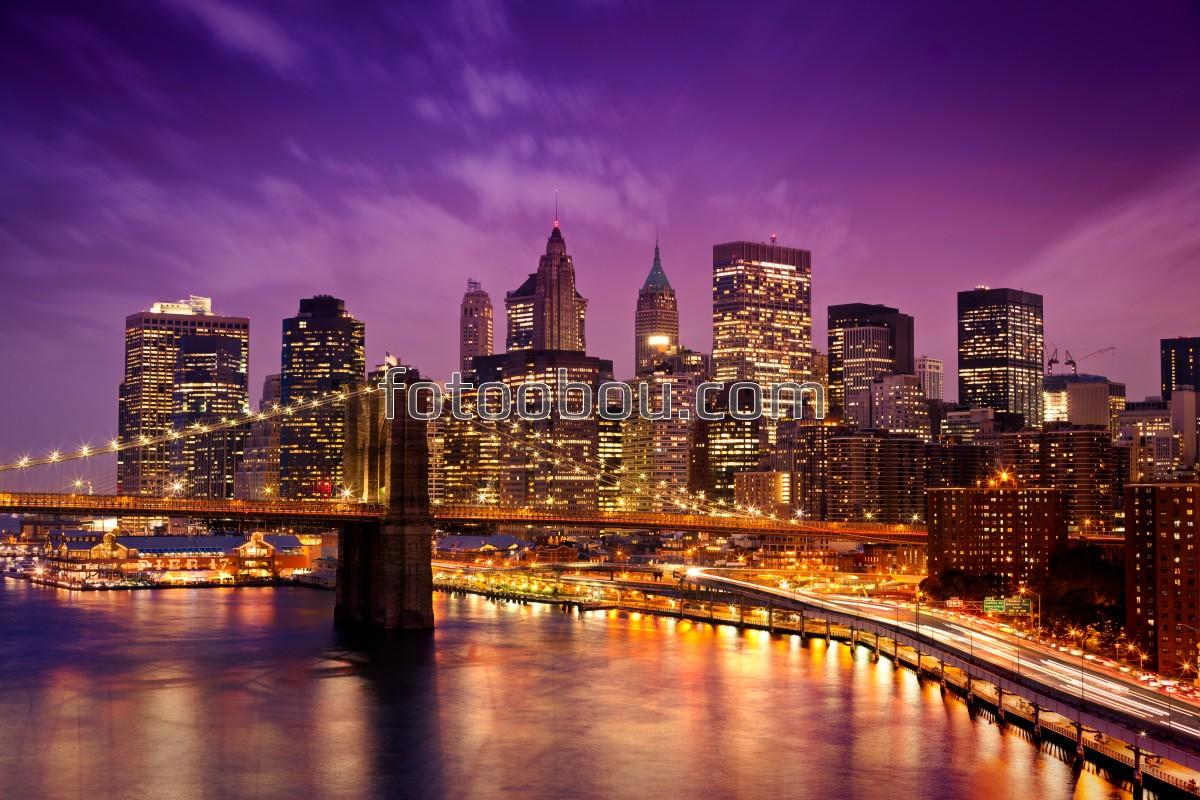 Обои здания, водопад, освещение, красота, набережная. Города foto 13