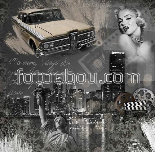 автомобиль, ночной нью-йорк, статуя свободы, мерлин монро. плакат, постер