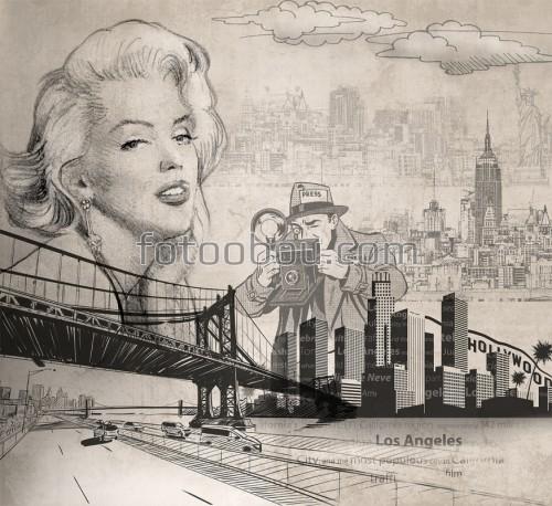 мерлин, монро, фотограф, город, мост, Мэрилин