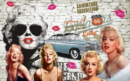 мерлин монро, мерлин, Мэрилин Монро, ретро, автомобиль, кирпичная стена, 3д, Мэрилин